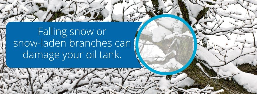Falling snow may damage your oil tank.